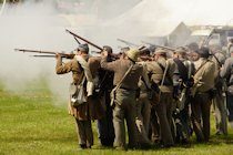 American Civil War Re-enactment - Confederate Musket Volley  - Wartime in the Vale 2019